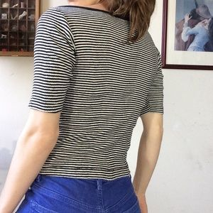 Vintage Tops - Vintage Nautical Stripes Knit Blouse